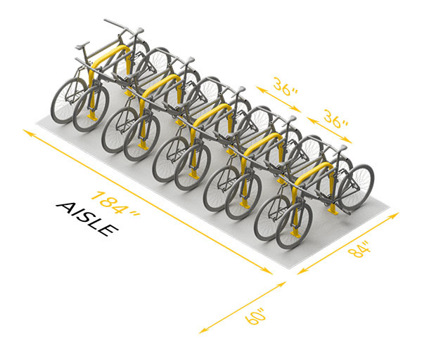Horizontal 10 Bike Space Use Recommended