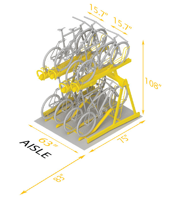 Two Tier 10 Bikes Space Use Recommended