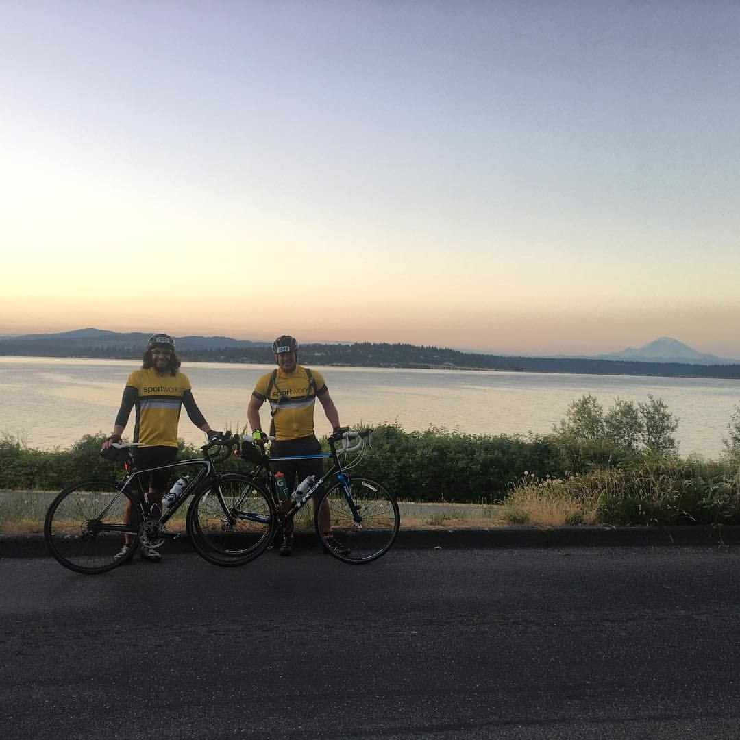 Matt and Tony STP Ride Lake Washington Mt Rainier